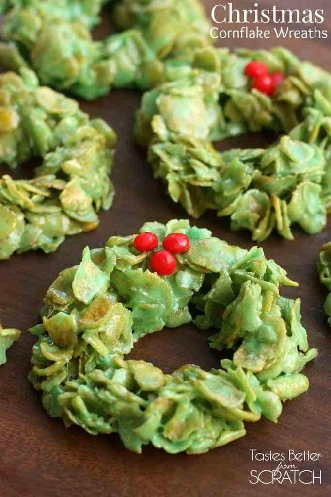Cornflake Christmas Wreath Cookies With Corn Syrup  Salted Chocolate Covered Caramels