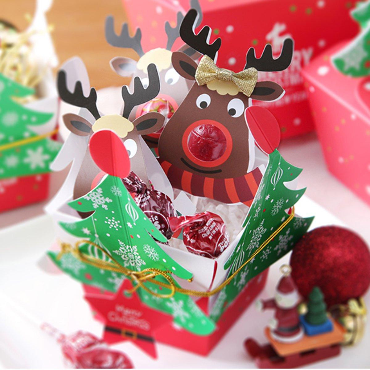 Cute Christmas Candy  25 pcs cute reindeer lipop paper card decorations