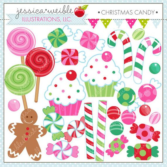 Cute Christmas Candy  Christmas Candy Cute Digital Clipart by JWIllustrations on