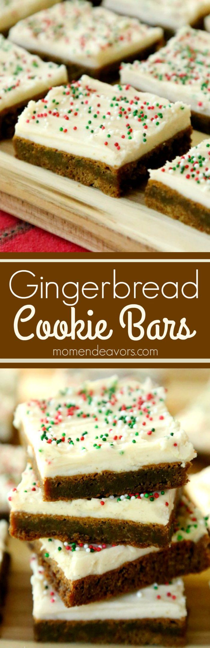 Delicious Christmas Desserts  Soft & chewy gingerbread cookie bars with cream cheese