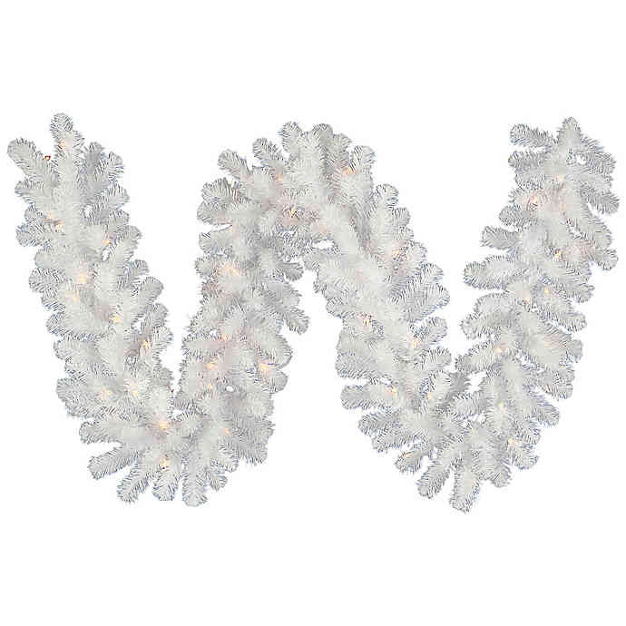 Discontinued Archway Christmas Cookies  Vickerman Crystal 9 Foot Pre Lit Garland in White with