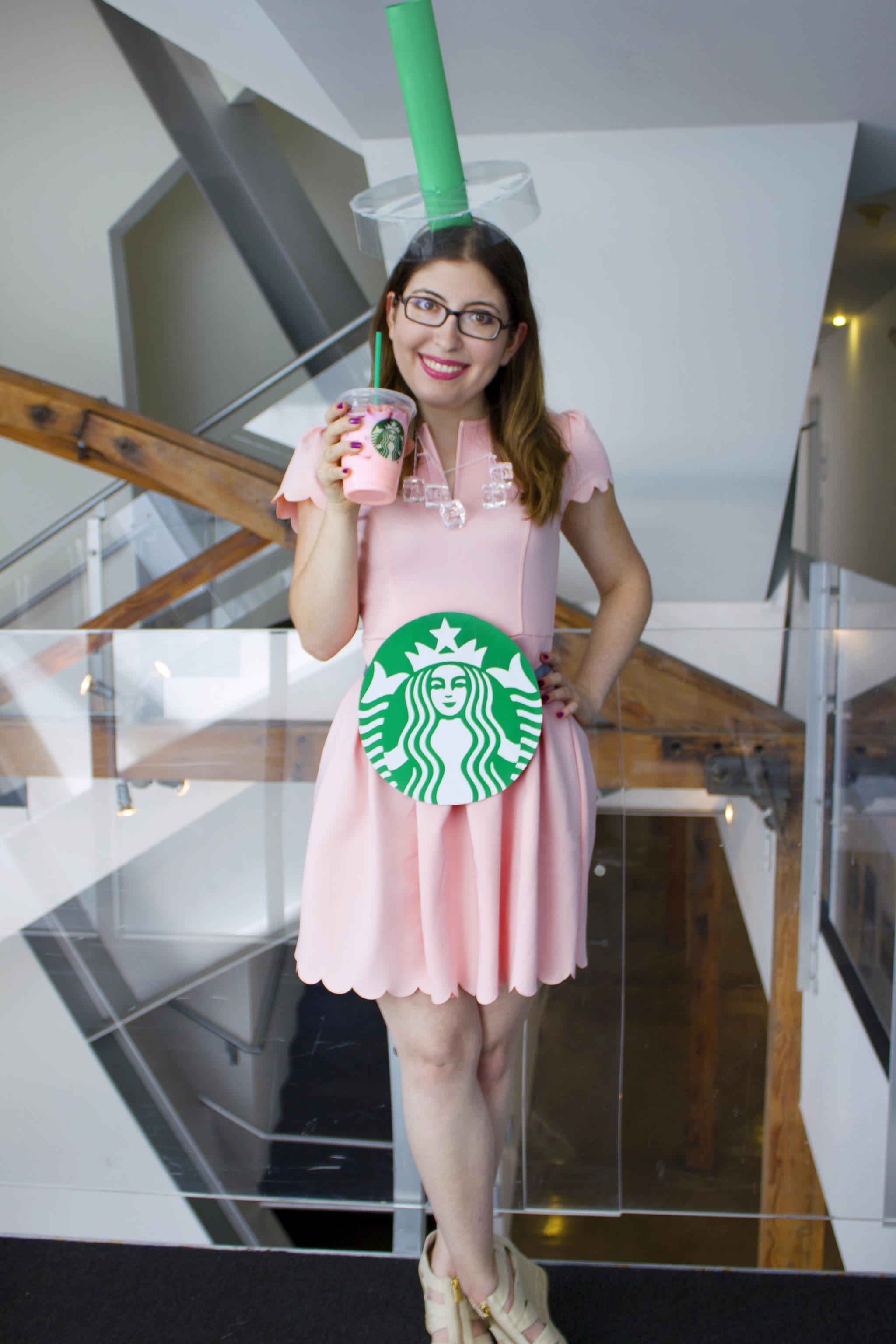 Drinks Halloween Costumes  DIY Starbucks Pink Drink & Chanel from Scream Queens