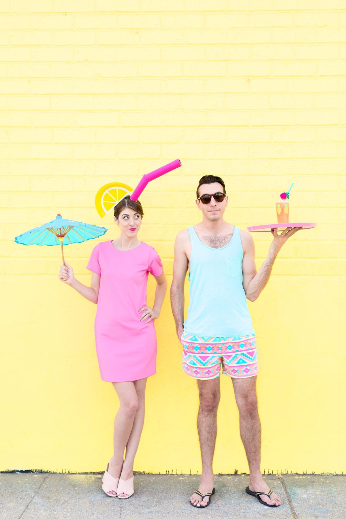 Drinks Halloween Costumes  DIY Tropical Drink Pool Boy Couples Costume Studio DIY