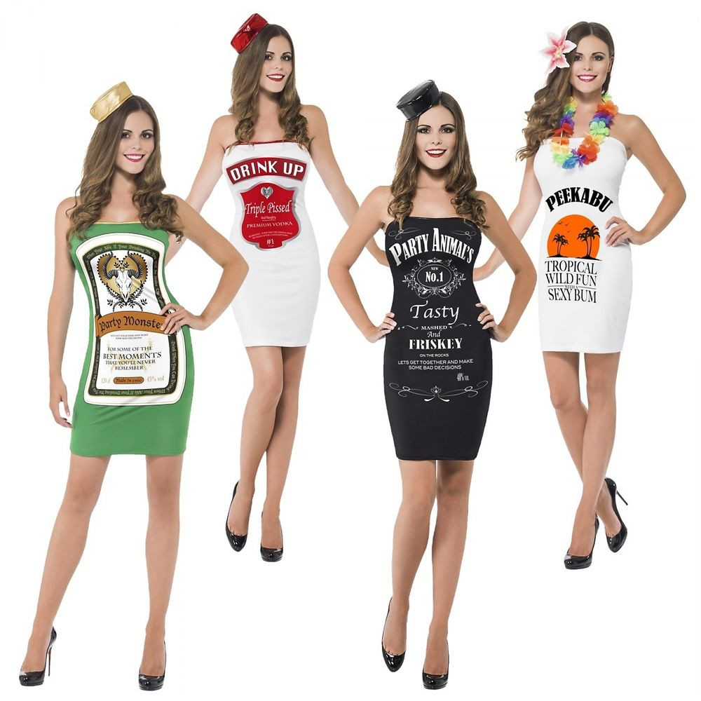 Drinks Halloween Costumes  y Liquor Bottle Costumes Adult Shot Girl Alcohol Group