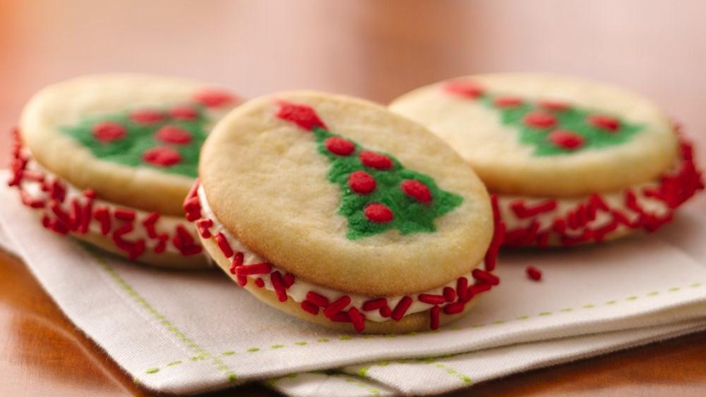 Easy Christmas Cookies Recipes With Pictures  Christmas Tree Sandwich Cookies recipe from Pillsbury