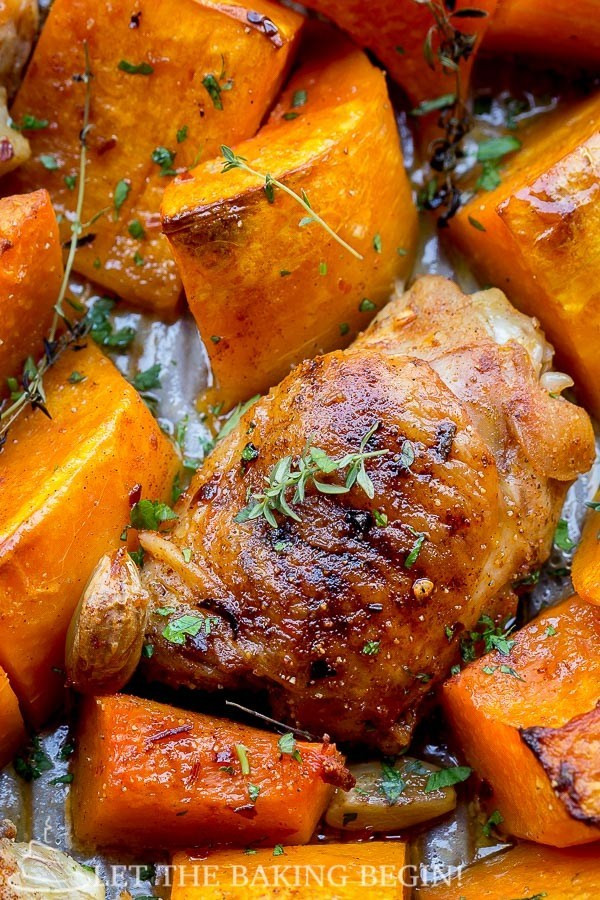 Easy Fall Dinners  e Pan Chicken and Squash Dinner Let the Baking Begin