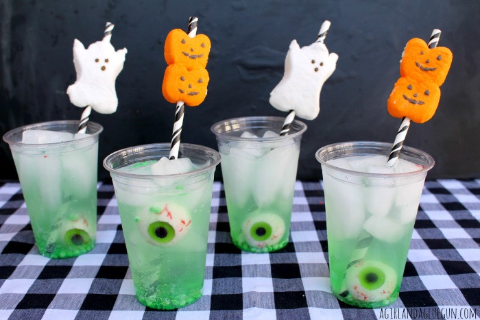 Easy Halloween Drinks  easy halloween drink with peep straws A girl and a glue gun