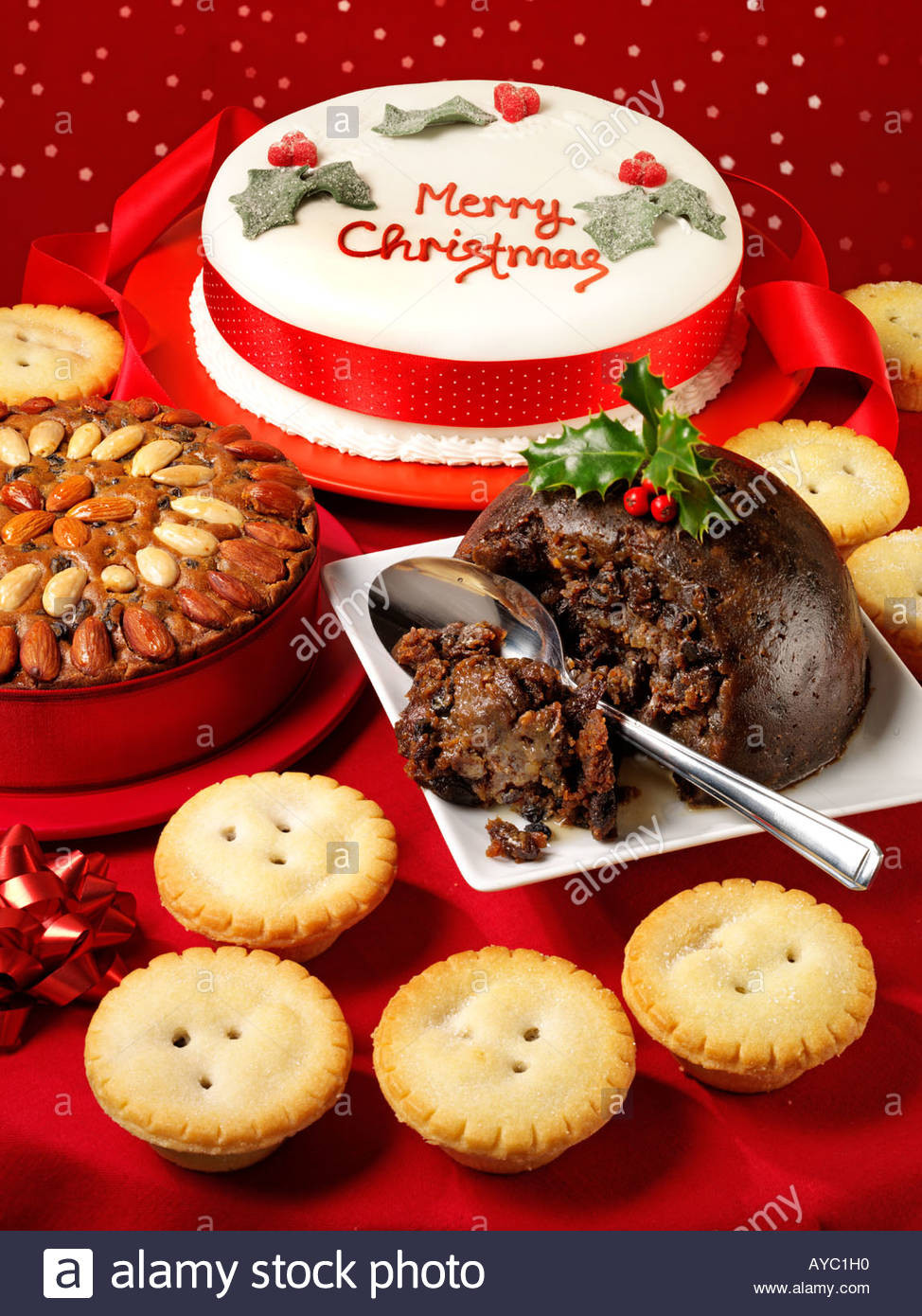 English Christmas Desserts  BRITISH CHRISTMAS DESSERTS Stock Royalty Free Image