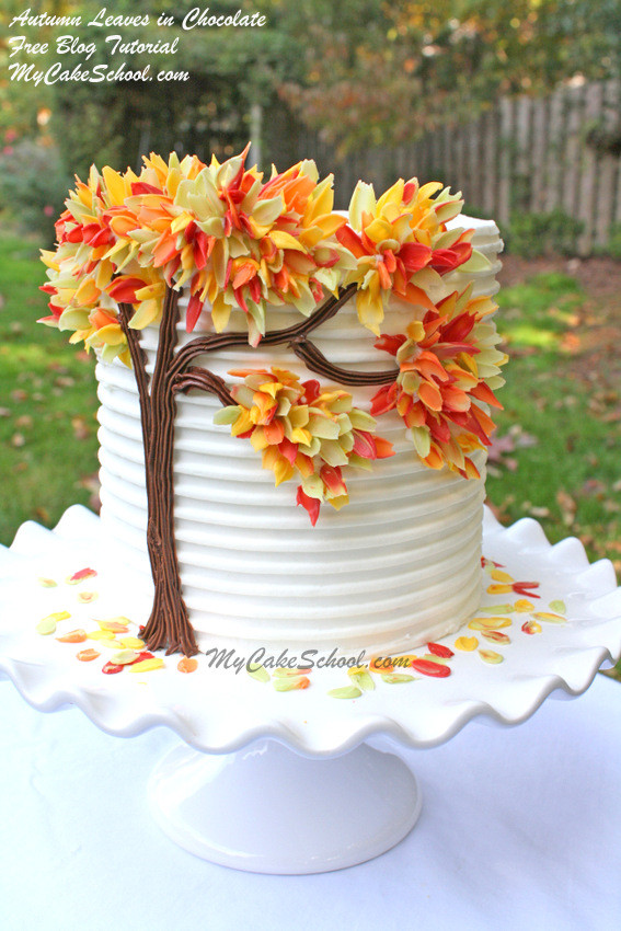 Fall Birthday Cake Ideas  Autumn Leaves in Chocolate Blog Tutorial