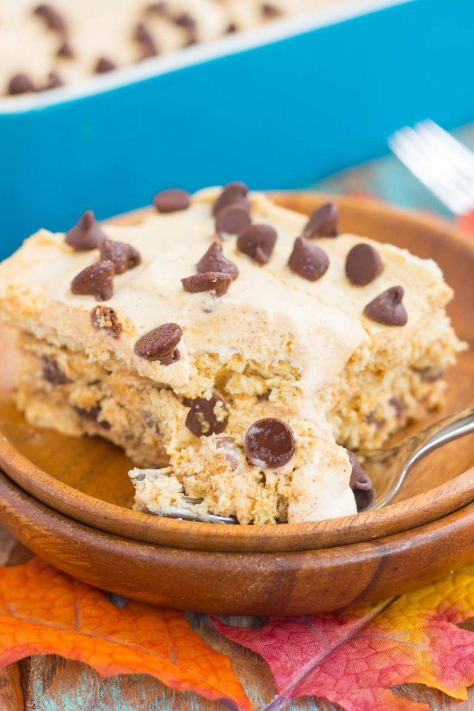 Fall Chocolate Desserts  No Bake Pumpkin Chocolate Chip Icebox Cake