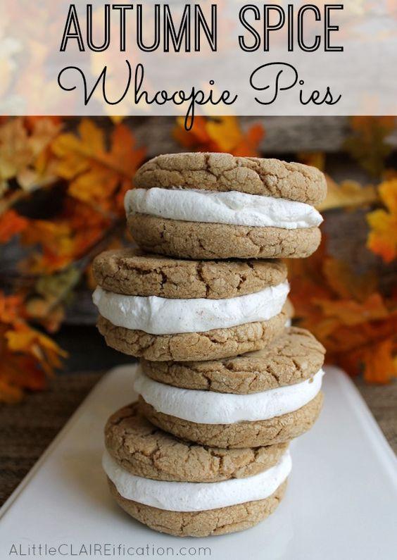 Fall Desserts Pinterest  Autumn Spice Whoopie Pies Recipe Pinterest