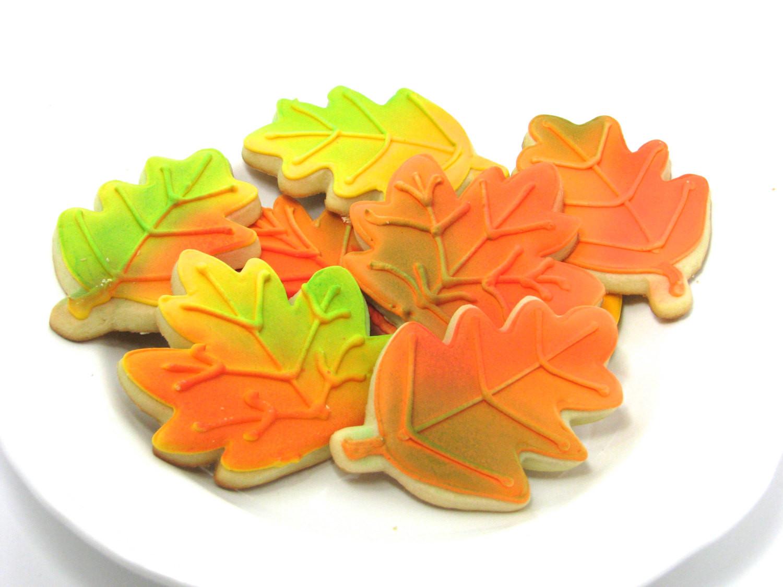 Fall Sugar Cookies  Decorated Fall Leaves Sugar Cookies