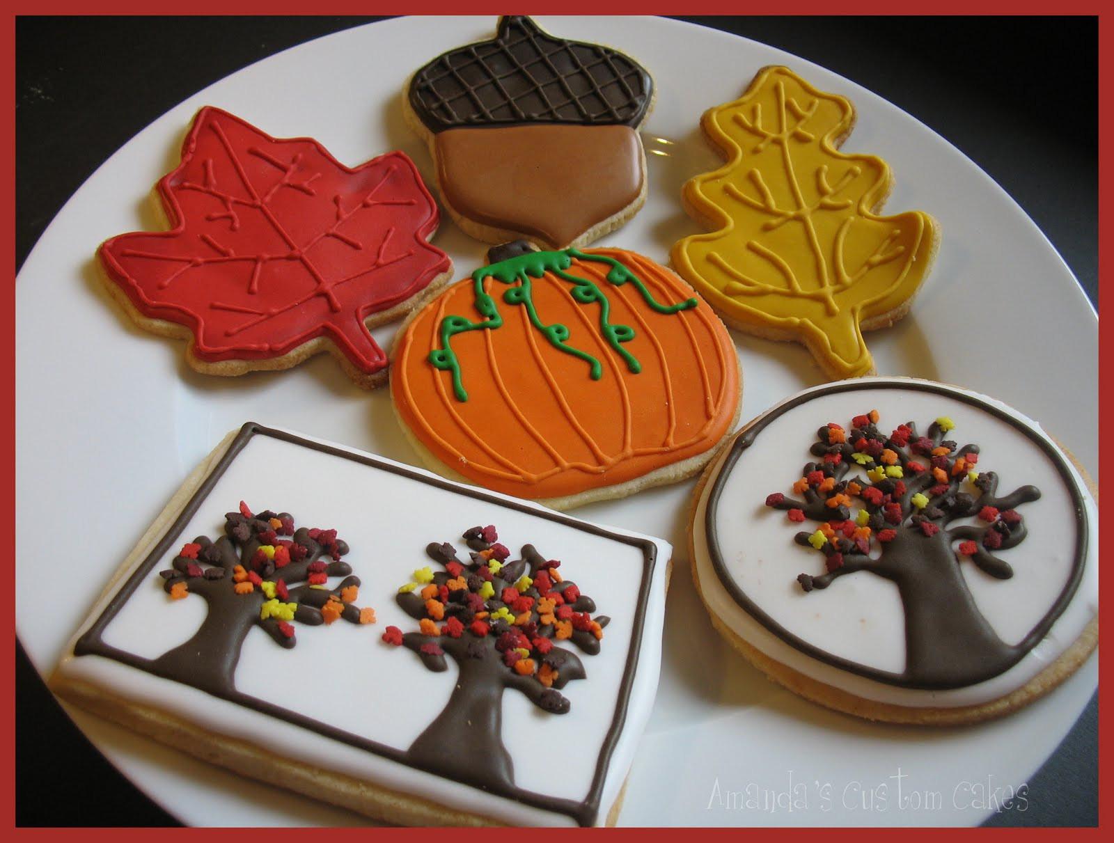 Fall Sugar Cookies  Amanda s Custom Cakes Fall themed sugar cookies