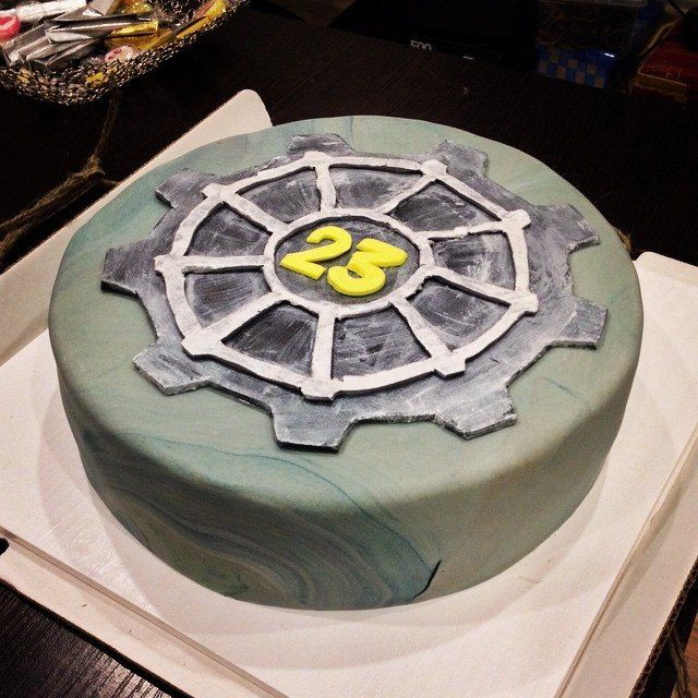Fallout Birthday Cake  Fallout New Vegas or just 3 Vault Tec Cake Inspiration