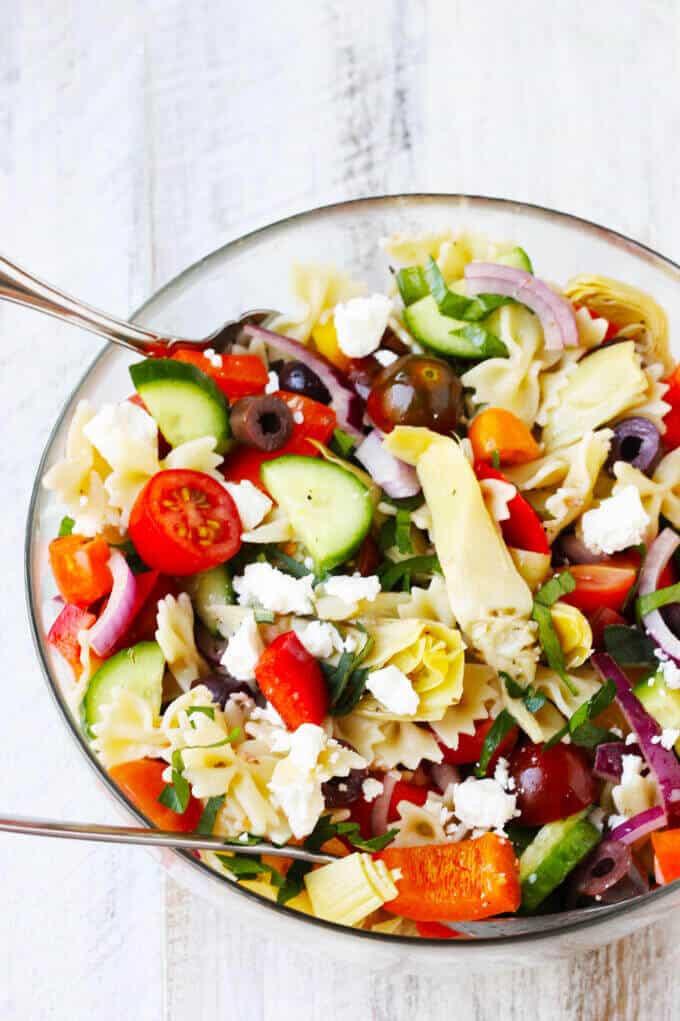 Farfalle Pasta Salad  Farfalle Pasta Salad Mediterranean Style w Mini Bow Tie