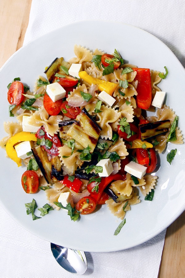 Farfalle Pasta Salad Recipes  Whole Wheat Farfalle Pasta Salad with Peppers Eggplant