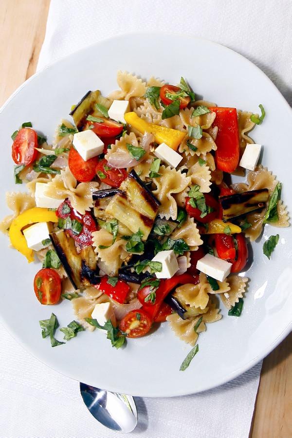 Farfalle Pasta Salad  Whole Wheat Farfalle Pasta Salad with Peppers Eggplant