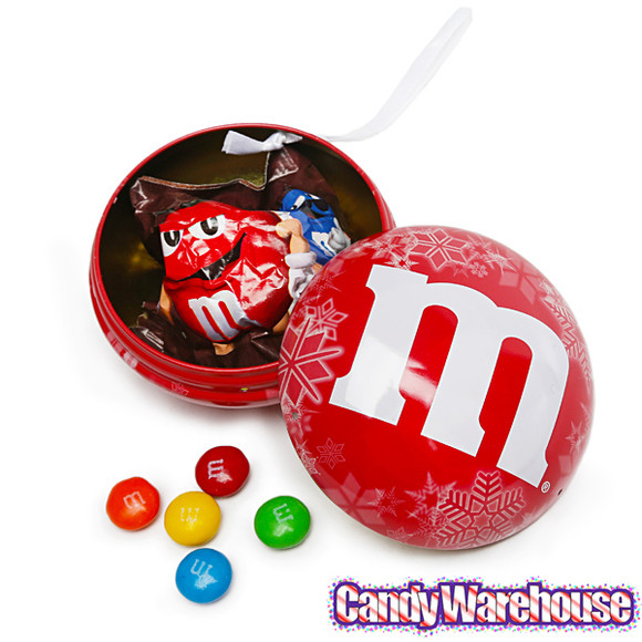 Filled Christmas Candy  M&M s Candy Filled Tin Christmas Ornaments 12 Piece