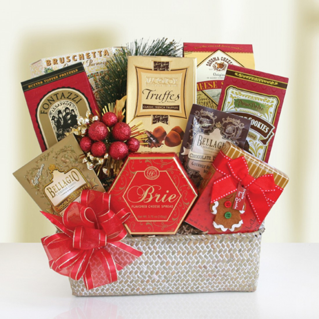 Food Gifts For Christmas To Be Delivered  Festive Holiday Food Baskets 7919 At Print EZ