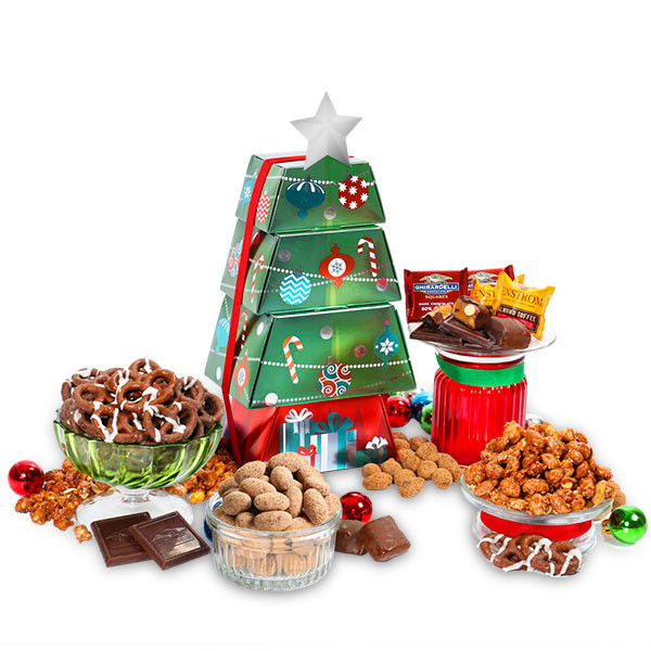 Food Gifts For Christmas To Be Delivered  Christmas Food Gift Tower by GourmetGiftBaskets