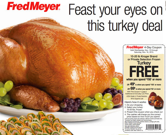 Fred Meyer Thanksgiving Dinner  Fred Meyer FREE Turkey with purchase of $150 or more