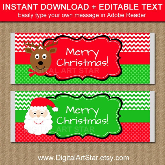 Free Printable Christmas Candy Bar Wrappers  EDITABLE Christmas Chocolate Bar Wrappers Printable