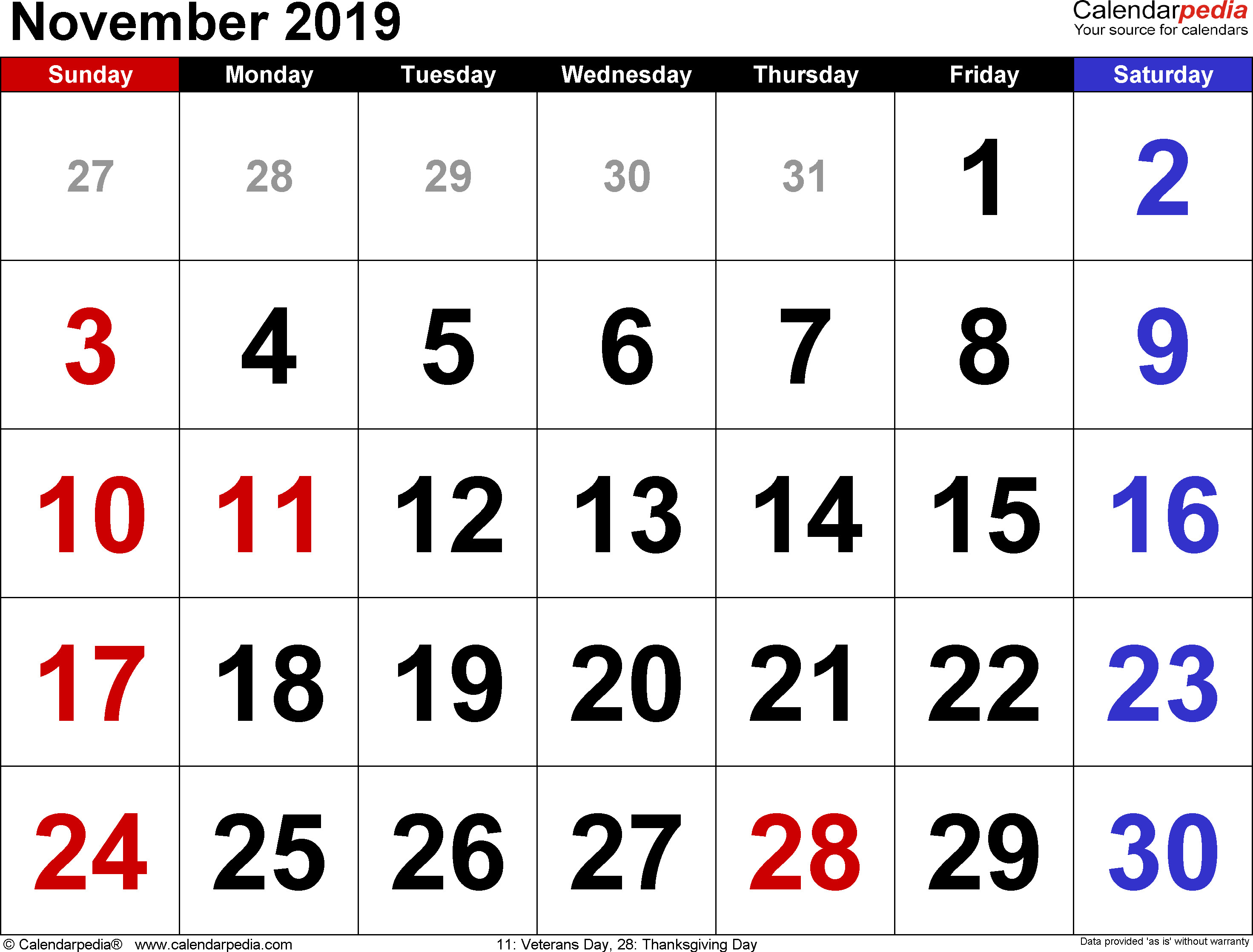 Free Turkey For Thanksgiving 2019  November 2019 Calendars for Word Excel & PDF