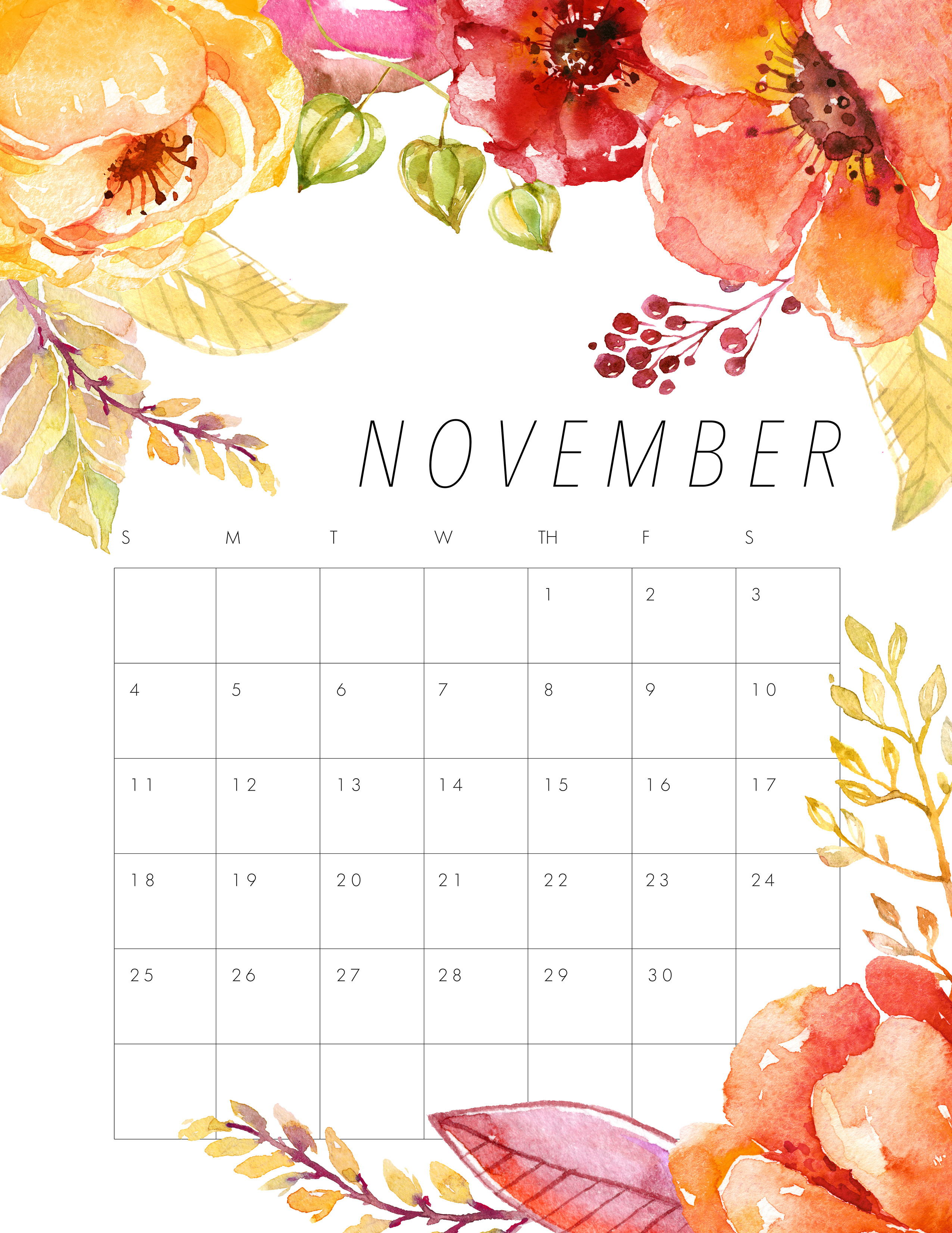 Free Turkey For Thanksgiving 2019  Free Printable 2018 Floral Calendar The Cottage Market