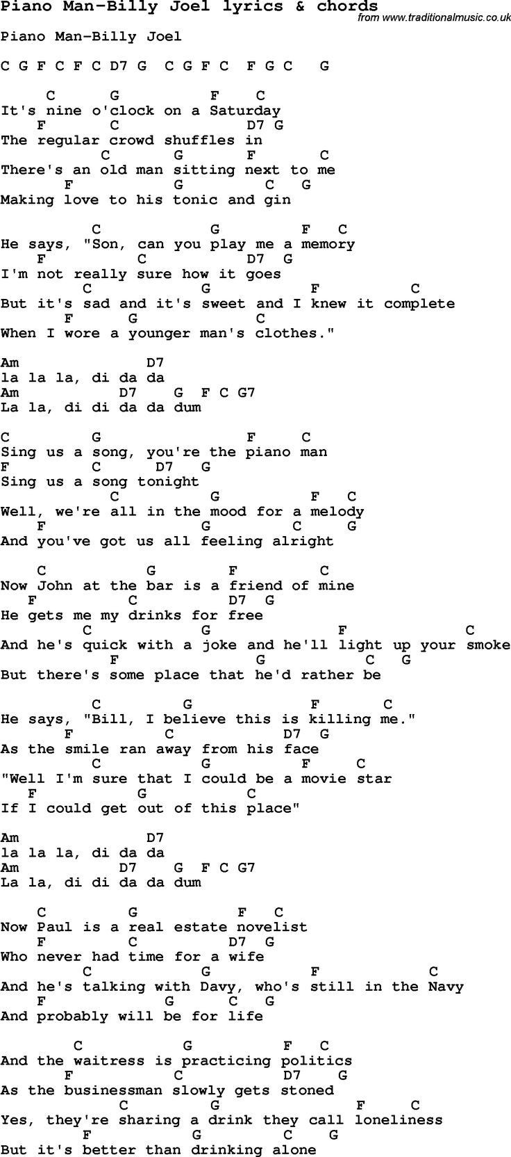 George Strait Christmas Cookies Lyrics  Love Song Lyrics for Piano Man Billy Joel with chords for