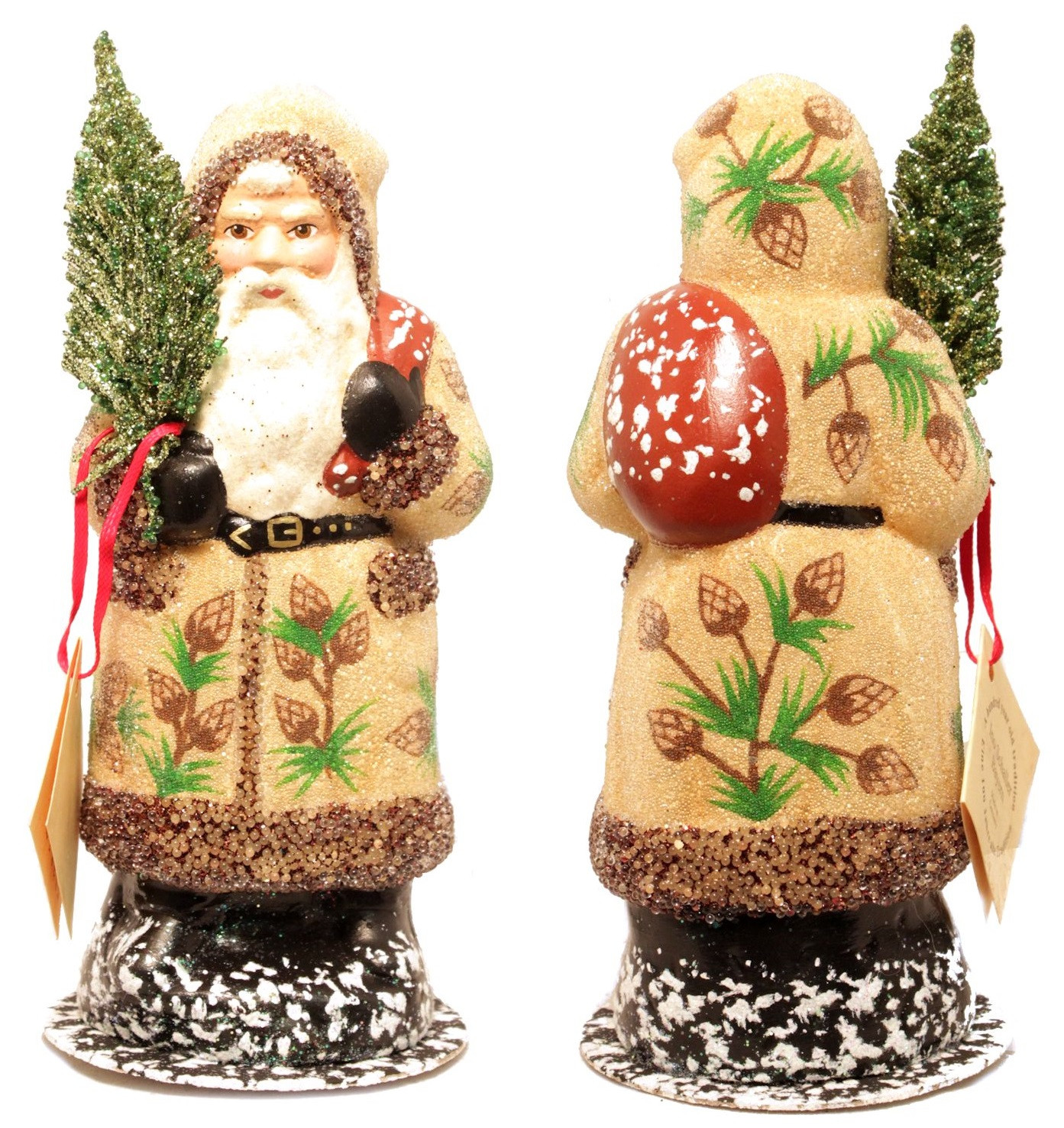 German Christmas Candy  Schaller Pine Cone Santa German Christmas Paper Mache