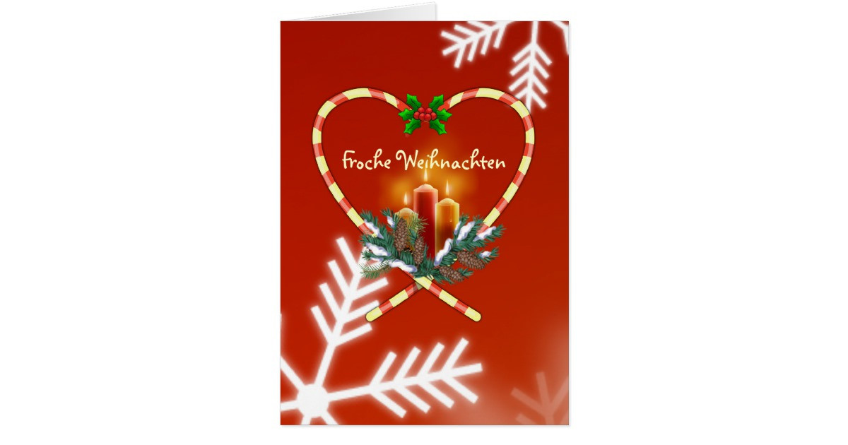 German Christmas Candy  German Christmas candy cane candles pine cones Card