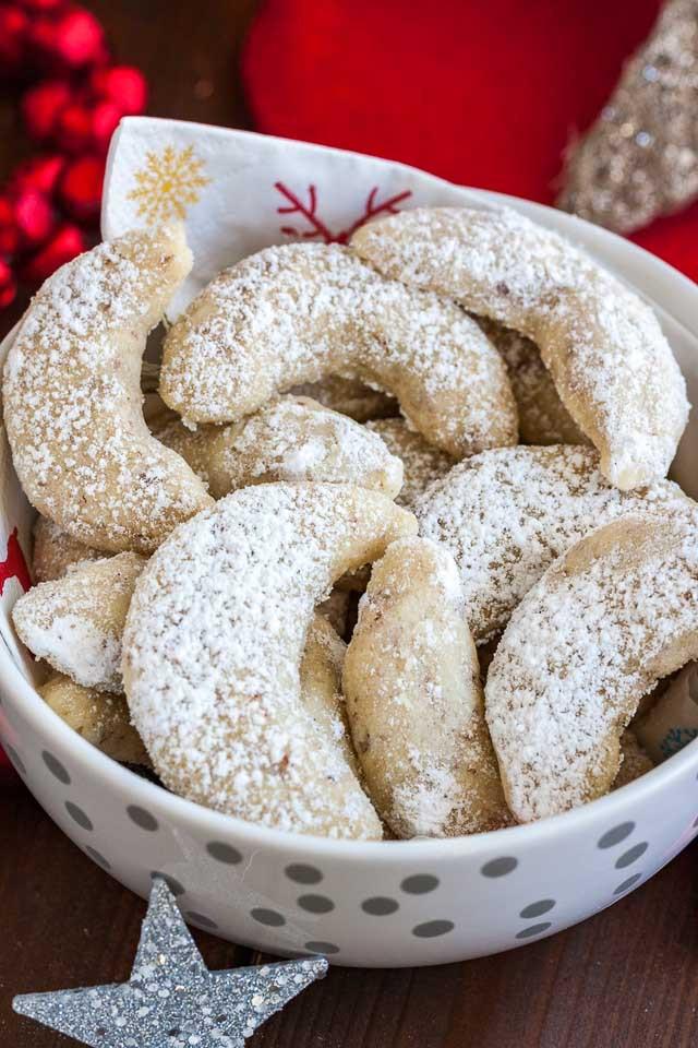 German Christmas Cookies  Vanillekipferl German Vanilla Crescent Cookies