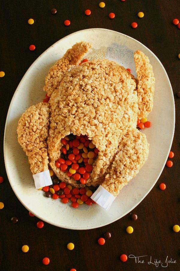Good Thanksgiving Dessert  Rice Krispie Treat Turkey