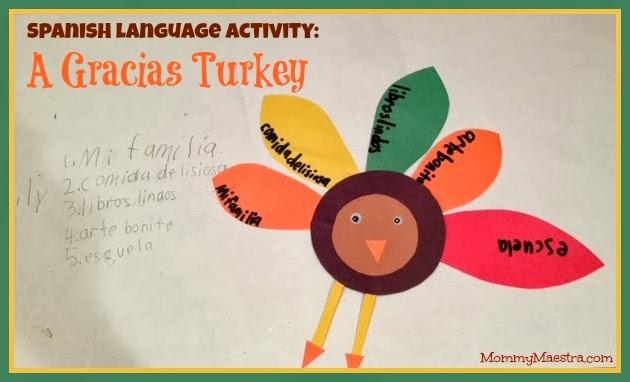 Gracias The Thanksgiving Turkey  Mommy Maestra Spanish Language Activity Gracias Turkey
