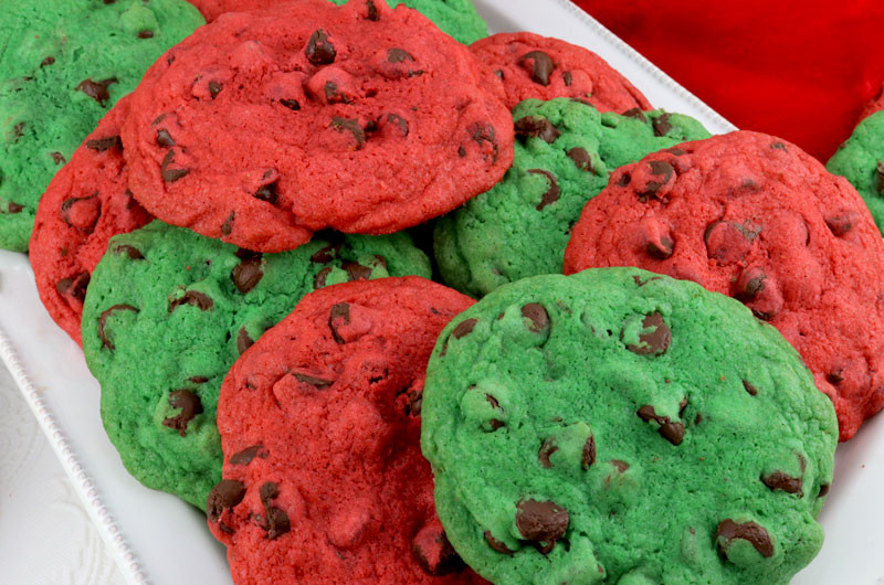 Green Christmas Cookies  Christmas Chocolate Chip Cookies Two Sisters