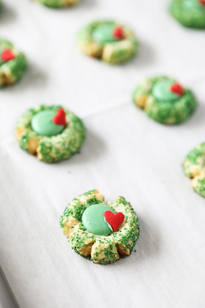 Grinch Christmas Cookies  Grinch Cookies Grinch Inspired Christmas Thumbprint