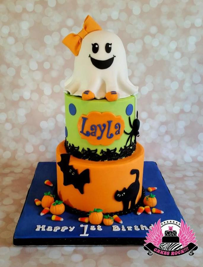 Halloween 1St Birthday Cake  Halloween Ghost First Birthday Cake Cake by Cakes ROCK