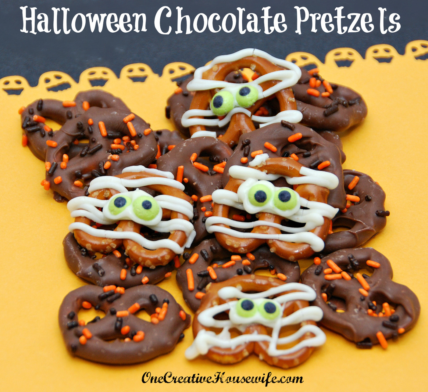 Halloween Chocolate Covered Pretzels  e Creative Housewife Halloween Chocolate Covered Pretzels