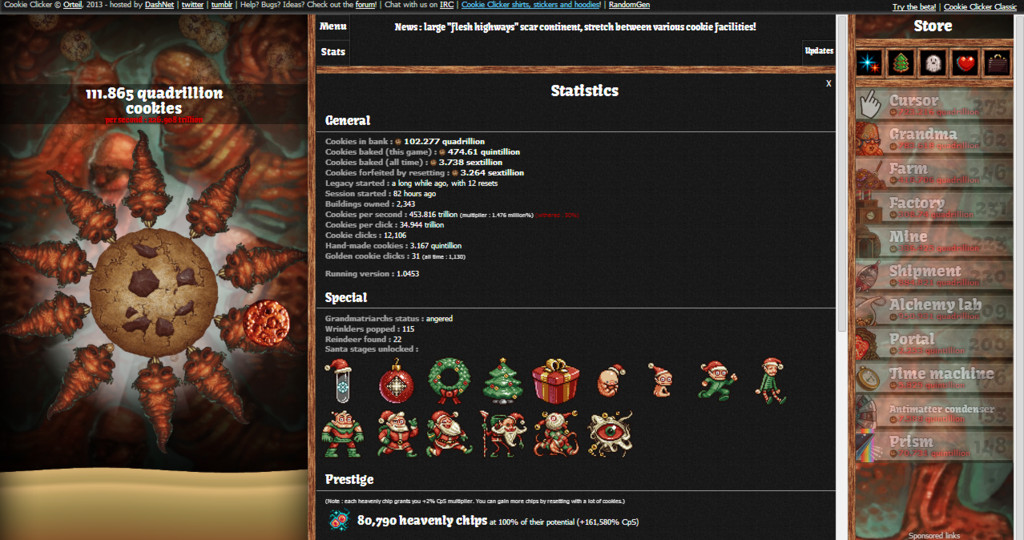 Halloween Cookies Cookie Clicker  Cookie er Statistics April 11th 2014 by