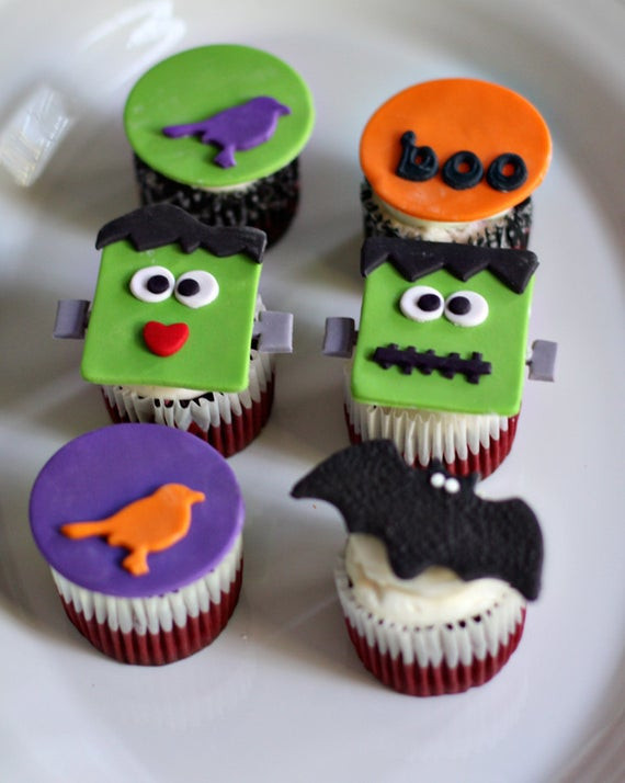 Halloween Cupcakes Decorations  Halloween Fondant Halloween and Frankenstein Toppers for