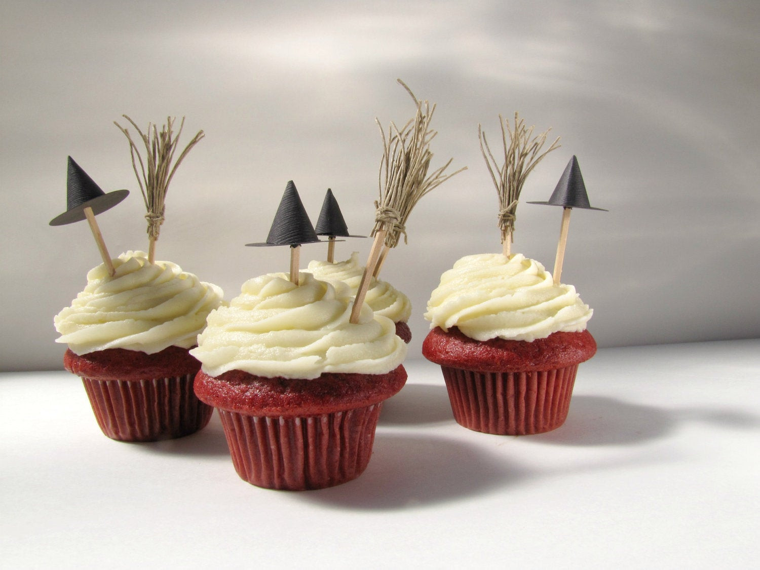 Halloween Cupcakes Decorations  Halloween Cupcake Toppers Witch hats and brooms cupcake