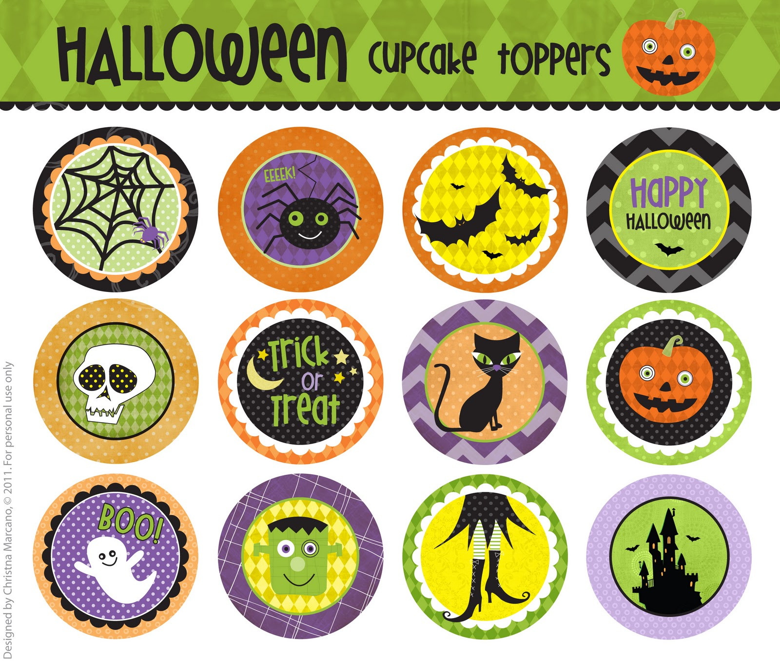 Halloween Cupcakes Toppers  cm2 Halloween Cupcake Toppers F R E E printable