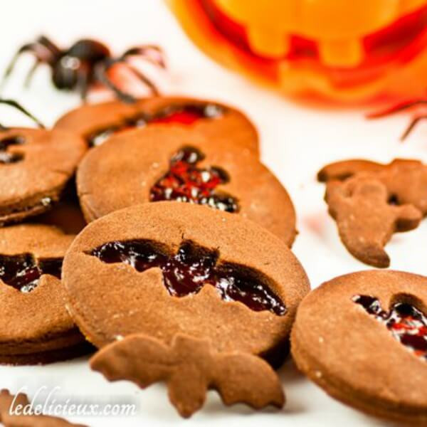 Halloween Cut Out Cookies  Chocolate Halloween cookies with jam cut out