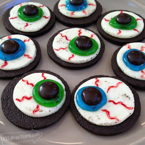 Halloween Eyeball Cookies  OREO Cookie Eyeballs Halloween Treat DIY 100 Directions