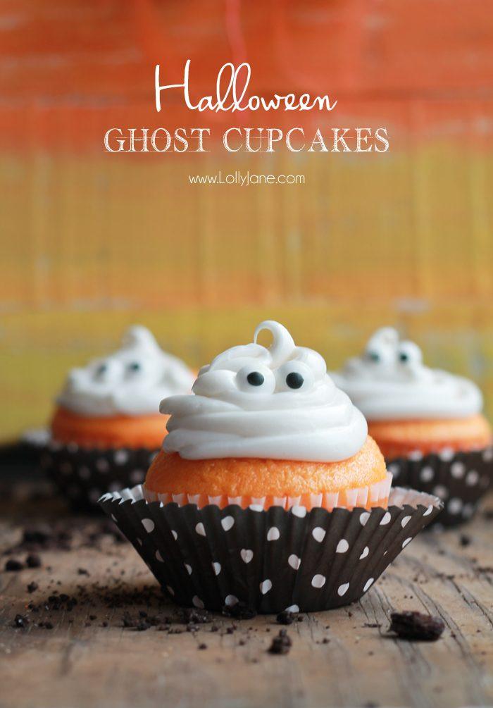 """Halloween Ghost Cupcakes  DIY Halloween """"EEK"""" sign Lolly Jane"""