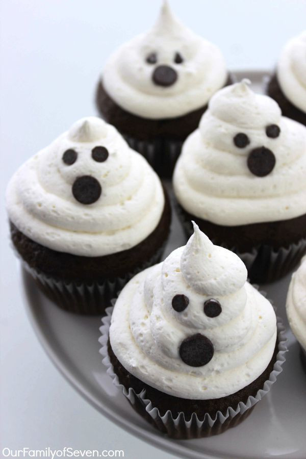 Halloween Ghost Cupcakes  Marshmallow Ghost Cupcakes OurFamilyofSeven