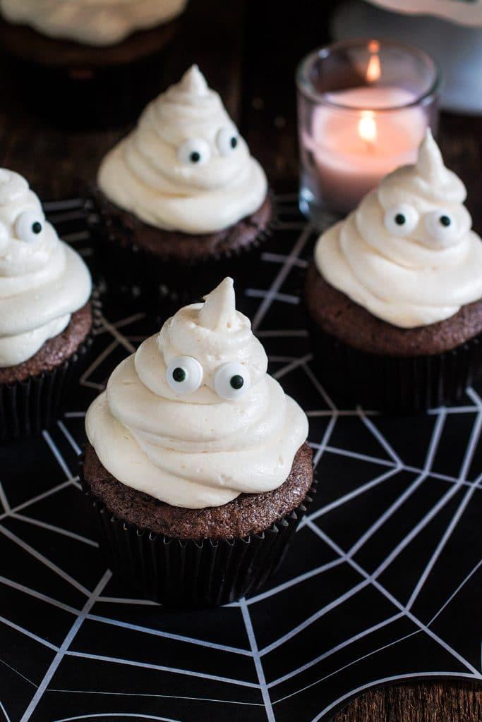Halloween Ghost Cupcakes  Ghost Halloween Cupcakes Olivia s Cuisine