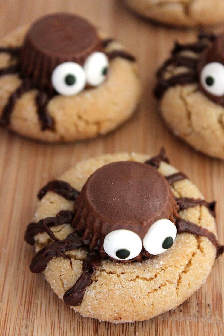 Halloween Party Cookies  Halloween Peanut Butter Spider Cookies Recipe
