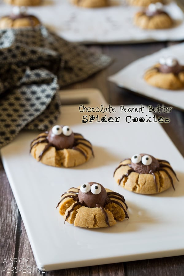Halloween Peanut Butter Cookies  Chocolate Peanut Butter Spider Cookies