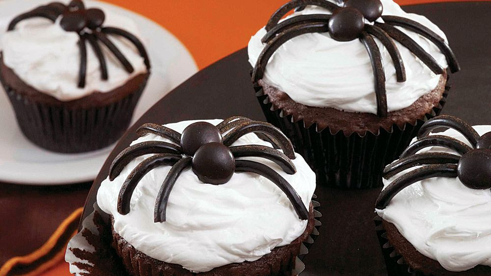 Halloween Spider Cupcakes  Black Spider Cupcakes recipe from Pillsbury